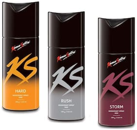 KamaSutra Hard Rush and Storm Deodorant Body Spary for Men (150ml)(Pack of 3)
