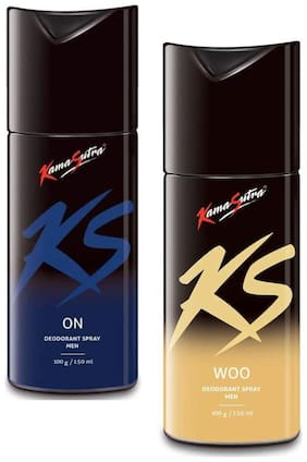 KamaSutra On 150ml and Woo Deodorant Body Spary for Men, 150ml (Pack of 2)