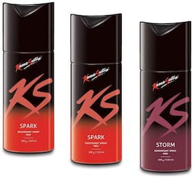 KamaSutra Two Spark 150ml and One Storm Deodorant Body Spary for Men150ml (Pack of 3)