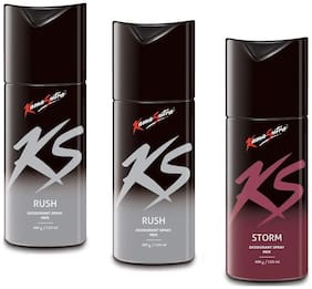 KamaSutra Two Rush 150ml and One Storm Deodorant Body Spary for Men150ml (Pack of 3)