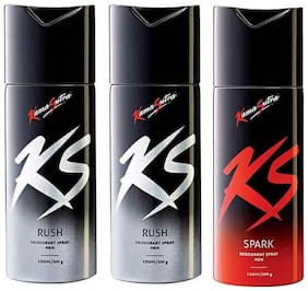 Kamasutra Rush + Rush + Spark Deodorant (Pack of 3)- For men - 150 ml each