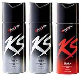 Kamasutra Rush + Rush + Spark Deodorant (Pack Of 3)- For Men - 150 Ml Each