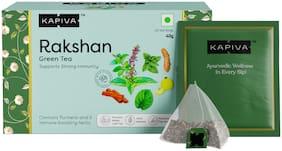 Kapiva Rakshan Green Tea   Supports Strong Immunity   Infused with Turmeric, Amla and Others   20 Tea Bags