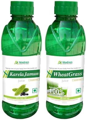 Madren Healthcare Karela Jamun & Wheat Grass Juice 500ml. (Combo Pack)