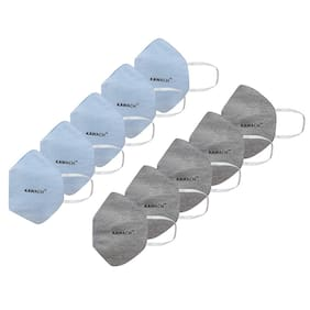 Kawach Face Mask With Earloop Reusable And Washable Protective Grey & Blue (Pack Of 10)