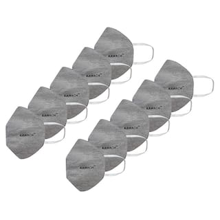 Kawach Face Mask With Earloop Reusable And Washable Protective Grey (Pack Of 10)