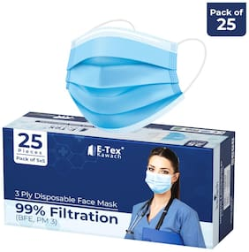 Kawach Mask by IIT Delhi Startup 3 Ply Disposable Surgical Face Mask with Meltblown Layer, Earloop & Nose Pin 99% Filtration(PM3) (Pack of 25)