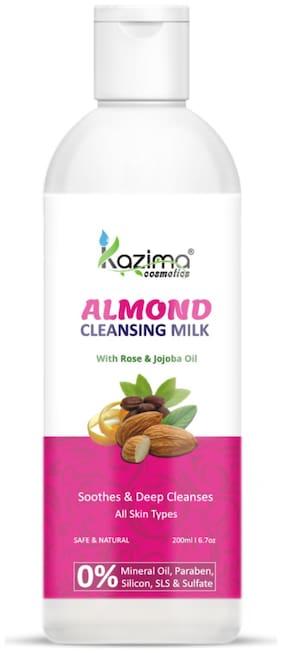 KAZIMA Almond Cleansing Milk with Rose & Jojoba Oil for Deep Cleansing | Pore Detoxifying (200ml)