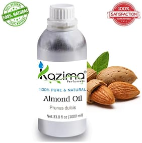 Kazima Almond Cold Pressed Carrier Oil (1000 Ml) 100% Pure Natural & Undiluted For Skin Care & Hair Treatment