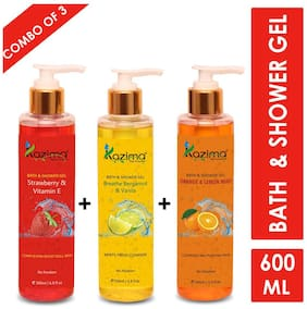 KAZIMA Breathe Bergamot & Vanilla Bath Gel + Strawberry & Vitamin E Shower Gel + Orange & Lemon Mint Shower Gel & Luxury Body Wash (3PCS of 200ml)
