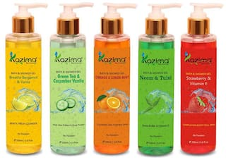 KAZIMA Breathe Bergamot & Vanilla Bath Gel + Strawberry & Vitamin E Shower Gel + Orange & Lemon Mint Shower Gel + Neem & Tulsi + Green Tea & Cucumber Vanilla Luxury Body Wash (5PCS of 200ml)