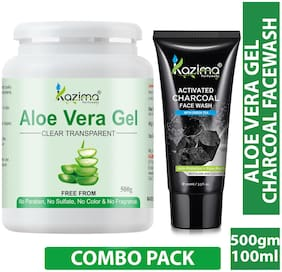 Kazima Combo Of Aloe Vera Gel 500G + Charcoal Facewash 100ml
