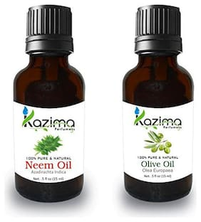 Kazima Combo Of Neem Oil And Olive Oil 15ml For Hair Growth, Skin Care (Pack of 2)