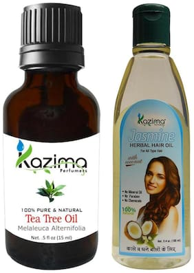 Kazima Combo Of Tea Tree Oil (15 ml ) And Jasmine Herbal Hair Oil (100 ml ) Anti Hair Loss Treatment & Dandruff Control