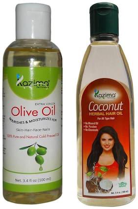 Kazima Combo Of Olive Oil And Coconut Herbal Hair Oil (Each 100 ml ) Reduces Hair Fall Hair Fall Control &Hair Growth