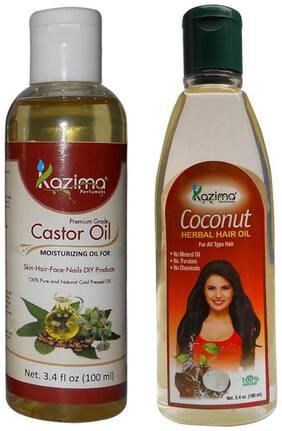 Kazima Combo Of Castor Oil And Coconut Herbal Hair Oil (Each 100 ml ) Reduces Hair Fall Hair Loss Control & Hair Growth