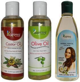 Kazima Combo Of Olive Oil + Castor Oil And Jasmine Herbal Hair Oil (Each 100 ml ) Anti Hair Fall Control & Hair Growth