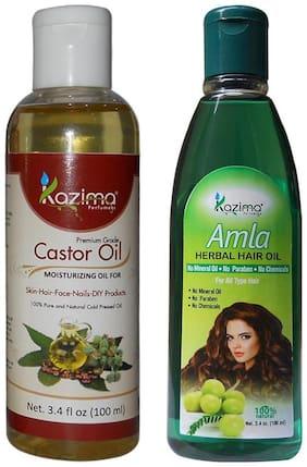 Kazima Combo Of Castor Oil And Amla Herbal Hair Oil (Each 100 ml ) Hair Fall Repair & Hair Fall Control