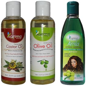 Kazima Combo Of Olive Oil + Castor Oil And Amla Herbal Hair Oil (Each 100 ml ) Anti Hair Fall Control & Hair Growth