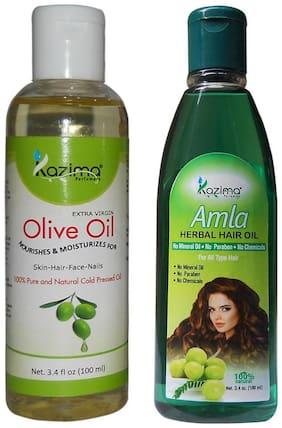 Kazima Combo Of Olive Oil And Amla Herbal Hair Oil (Each 100 ml ) Anti Hair Fall Control Maintains Healthy Scalp & Promote Hair Growth