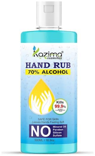 KAZIMA Hand Sanitizer 70% Isopropyl Alcohol Based Instant Germ Protection Rinse-free Liquid Hand Rub;500ml (Pack of 1)