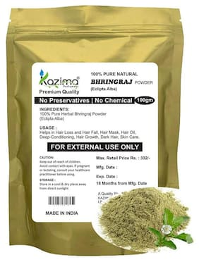 Kazima Premium Quality Bhringraj Powder (100 gm) - 100% Pure Natural Herbal & Fresh - Trengthen Hair Roots Increases Bounciness And Silkiness of Hair Deep - Conditioning