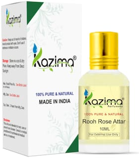 KAZIMA Rooh Rose Attar For Unisex, Long Lasting & Alcohol Free (10ml) - Pure Natural & Premium Quality Roll-on Attar