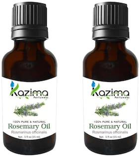 Kazima Rosemary Oil (Pack Of 2) With Dropper 15Ml Pure Natural - Use For Aromatherapy  Health Boost  Hair Re-Growth  Skin Care  Face