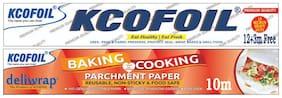 Kcofoil 12+3m (15m) Heavy Duty 18 Micron Aluminium Silver Kitchen Foil Roll Paper & 10m baking parchment paper Aluminium Foil (Pack of 2)