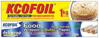 Kcofoil 1kg Gross Aluminium Silver Kitchen Foil Roll Paper,18 Micron Thick,Food wrap,Bacteria Resistant,Disposable,Food Parcel,Fresh Food,and 20m food wrapping organic paper (Pack of 2)