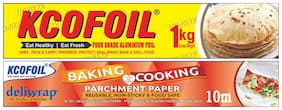 Kcofoil 1kg Gross Aluminium Silver Kitchen Foil Roll Paper,18 Micron free 10m Baking and cooking parchment paper (Pack of 1)