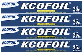 Kcofoil 25m Aluminium Silver Kitchen Foil Roll Paper 11 Micron Thick,Food wrap,Bacteria Resistant,Disposable,Food Parcel,Hookah,Fresh Food Aluminium Foil (Pack of 4)