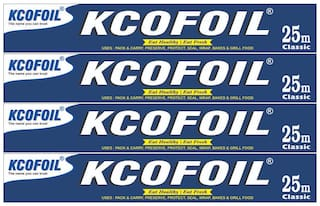 Kcofoil 25m Aluminium Silver Kitchen Foil Roll Paper 11 Micron Thick,Food wrap,Bacteria Resistant,Disposable,Food Parcel,Hookah,Fresh Food Aluminium Foil (Pack of 4)