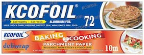 Kcofoil 72n Aluminium Silver Kitchen Foil Roll Paper 11 Micron Thick,Food wrap,Bacteria Resistant,Disposable,Food Parcel,Hookah,Fresh Food Aluminium Foil and 10m baking and cooking paper (Pack of 2)