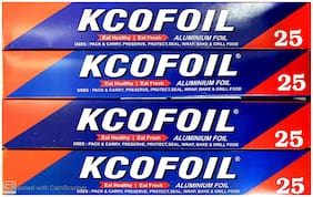 Kcofoil Aluminium Silver Kitchen Foil Roll Paper 25m Each (Pack of 4)