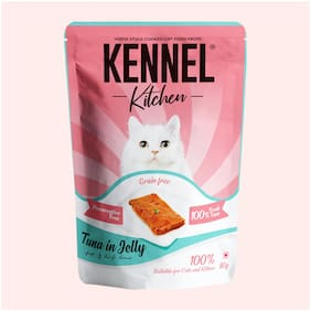Kennel Kitchen Grain Free Wet Cat Food for Adults and Kittens/Tuna in Jelly 80g (Pack of 12)