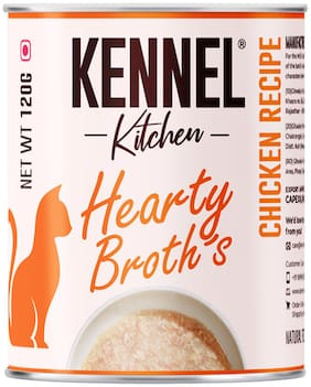 Kennel Kitchen Wet Cat Food for Adults and Kittens/Hearty Broth Chicken Recipe/6 Cans 120g (Pack of 6)