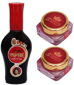 Keya Seth Aromatherapy/Aromatic Aalta (95mlX1) with 100% Natural Sindur Powder Red (3gX2) (Pack of 3)