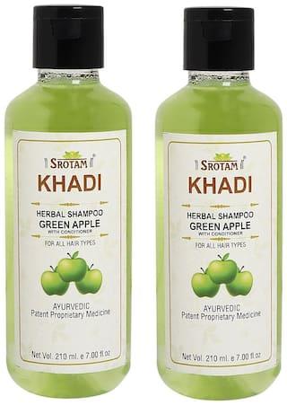 SROTAM Khadi Green Apple conditioner Shampoo 210 ml (Pack Of 2)