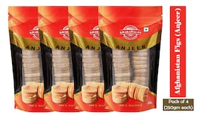 KHARAWALA's Afghanistan Soft and Sweet Best Quality Figs (Anjeer);250 gms each Pack of 4