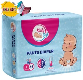 Kiddysoft Pants Diaper Large 34 Pieces with 1 Pair free Baby Socks