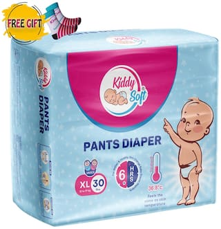 Kiddysoft Pants Diaper Extra Large 30 Pieces with 1 Pair free Baby Socks