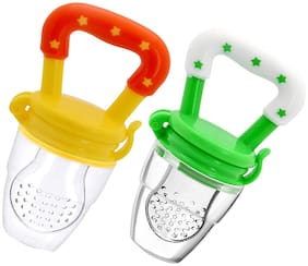 MOMSCAPE Nibbler Soother for Babies Pacifier for New Born Baby Silicone Fruit and Juice Feeder Kids Nipple Pacifier for Fruit Vegetable BPA Free (Pack of 2)
