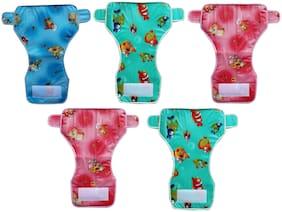 Kidsify Reusable Baby New Born Diaper Towel with Waterproof Plastic Adjustable Size (Set of 5)