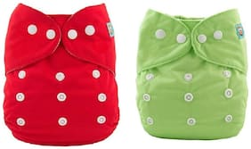 Kidsify Washable Baby Diaper Premium Cloth Diaper Reusable,Adjustable Size,Waterproof,Pocket Cloth Diaper Nappie (2 Diaper and 2 Insert Pad)(Red & Green )