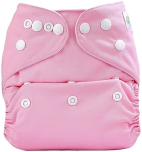 Kidsify Washable Baby Diaper Premium Cloth Diaper Reusable,Adjustable Size,Waterproof,Pocket Cloth Diaper Nappie (1 Diaper and 1 Insert Pad)(Pink)