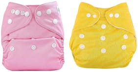 Kidsify Washable Baby Diaper Premium Cloth Diaper Reusable,Adjustable Size,Waterproof,Pocket Cloth Diaper Nappie (2 Diaper and 2 Insert Pad)(Pink & Yellow)