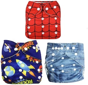 Kidsify Washable Baby Cloth Diaper Reusable, Adjustable Size, Waterproof, Pocket Cloth Diaper Nappie, Printed Button Diaper for Babies/Infants/Toddlers (Set of 3)