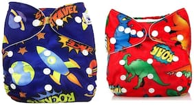 Kidsify Washable Baby Cloth Diaper Reusable,Adjustable Size,Waterproof,Pocket Cloth Diaper Nappie,Printed Button Diaper for Babies/Infants/Toddlers (Set of 2)