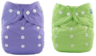 Kidsify Washable Baby Diaper Premium Cloth Diaper Reusable,Adjustable Size,Waterproof,Pocket Cloth Diaper Nappie (2 Diaper and 2 Insert Pad)(Purple & Green)